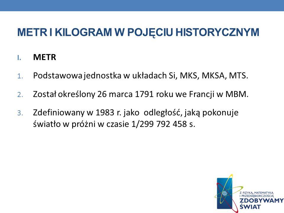 METR I KILOGRAM W POJĘCIU HISTORYCZNYM CD.II. KILOGRAM 1.
