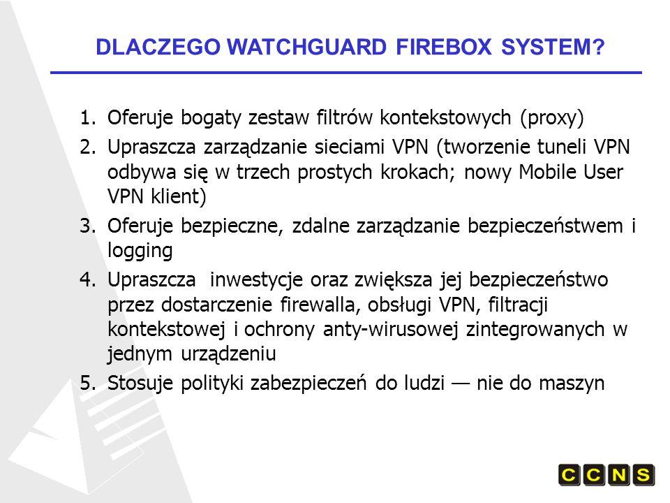 Firebox ® V100 Duże korporacje Internetowe, centra obliczeniowe, ISP Przepustowość: 600 mbps firewall, 300 mbps 3DES; 20,000 tuneli VPN Firebox ® V80 Duże firmy Internetowe Przepustowość: 270 mbps firewall, 150 mbps 3DES; 8,000 tuneli VPN Firebox ® V60 Średnie i duże firmy, Przepustowość: 200 mbps firewall, 100 mbps 3DES; 400 tuneli VPN Firebox ® V10 Oddziały terenowe lub samodzielne małe biura Idealny VPN endpoint; 10 do 25 użytkowników Przepustowość: 75 mbps firewall, 20 mbps 3DES Rozwiązania dla DUŻYCH INSTYTUCJI I URZĘDÓW CENTRALNYCH: FIREBOX VCLASS APPLIANCES