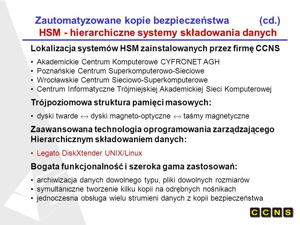 Zautomatyzowane kopie bezpieczeństwa (cd.) Struktura systemu HSM w ACK CYFRONET AGH