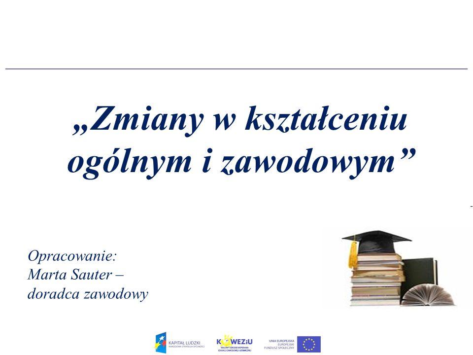 Plan sesji 1.Zmiany w kształceniu ogólnym 2.Zmiany w kształceniu zawodowym