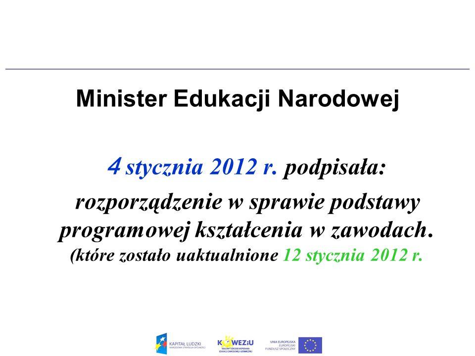 Nowa podstawa programowa kształcenia w zawodach będzie obowiązywała od września 2012 roku.