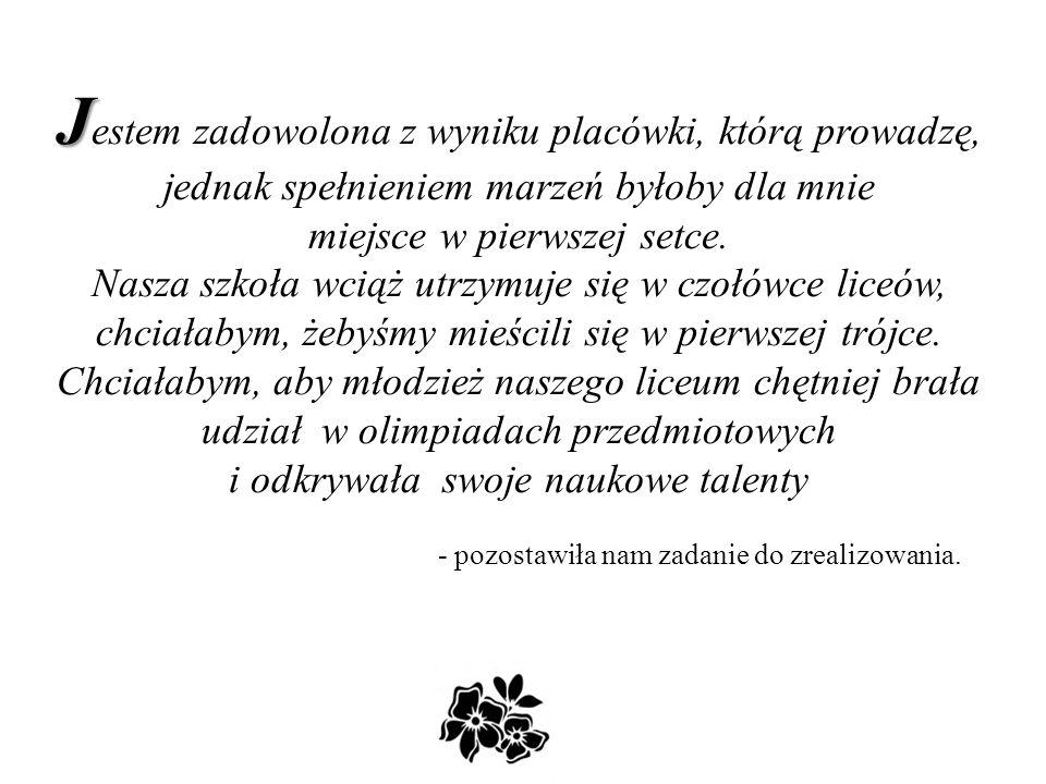 P P ani dyrektor dr Maria Zalewska to 21 lat historii Szóstki, wspólnej historii uczniów, rodziców, nauczycieli i wszystkich pracowników szkoły.