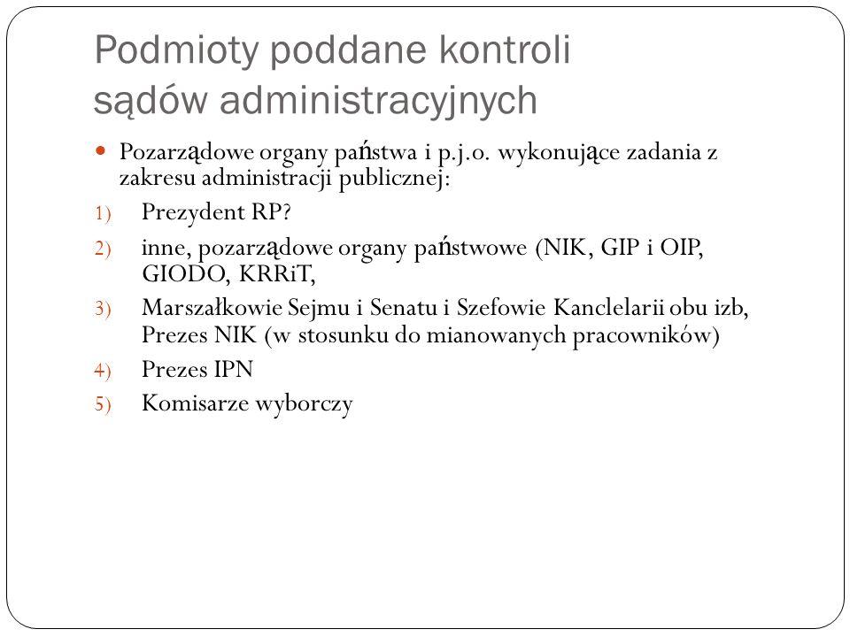 Podmioty poddane kontroli sądów administracyjnych