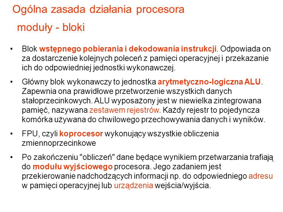 Blok wstępnego pobierania i dekodowania instrukcji.