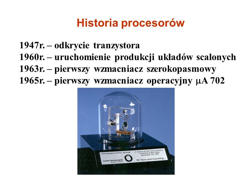 1947r.– odkrycie tranzystora 1960r. – uruchomienie produkcji układów scalonych 1963r.