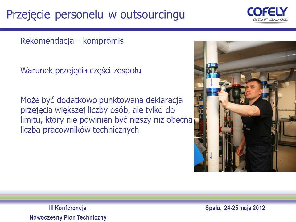III Konferencja Spała, 24-25 maja 2012 Nowoczesny Pion Techniczny Podsumowanie – etapy optymalizacji Wybór modelu obsługi technicznej - etapy Zebranie danych koniecznych do analizy modelu zestawienie urządzeń oczekiwania od obsługi technicznej - wymagania operacyjne (obecność, czas reakcji, godziny na prace dodatkowe), spodziewany poziom niezawodności rzeczywiste koszty zawierające konsekwencje wynikające z niewłaściwej jakości obsługi Zdefiniowanie i kalkulacja kosztów modelu optymalnego – rekomendowane wsparcie konsultanta