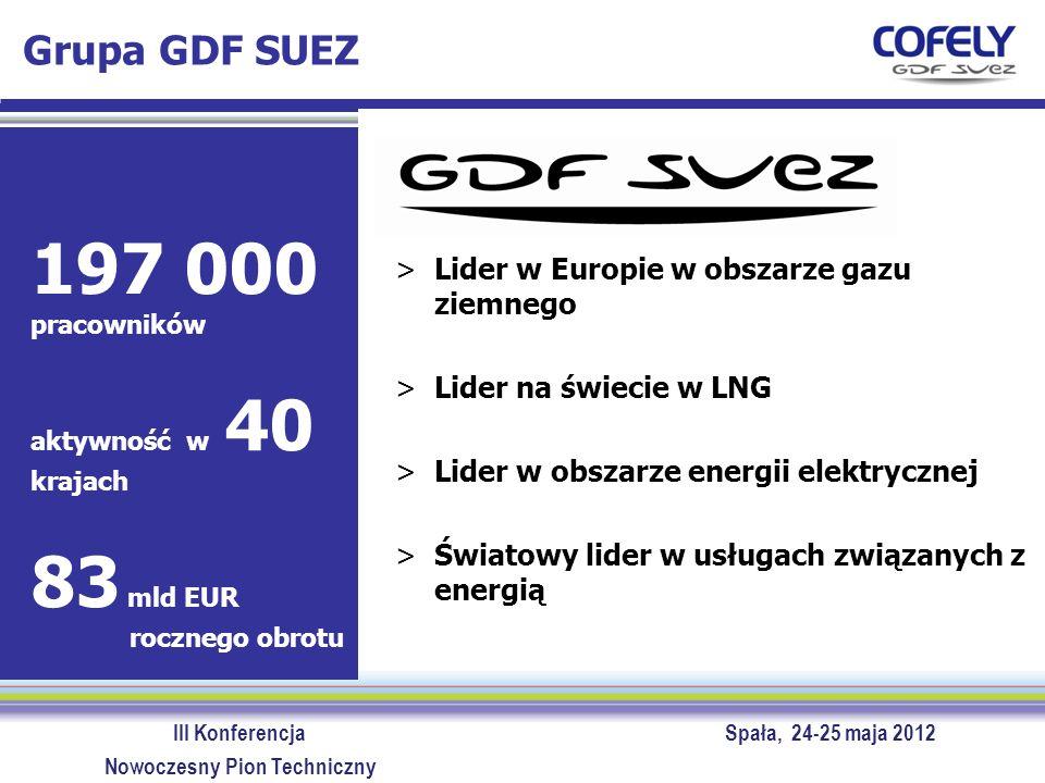III Konferencja Spała, 24-25 maja 2012 Nowoczesny Pion Techniczny Grupa GDF SUEZ – linie biznesowe Energy Services Energy Europe & International Global Gas & LNG Infrastructure Energy France SUEZ Environment