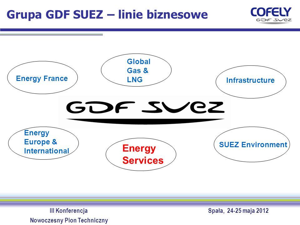 III Konferencja Spała, 24-25 maja 2012 Nowoczesny Pion Techniczny ENERGY SERVICES >Największy dostawca usług związanych z energią w Europie >Jedna z 6 linii biznesowych grupy GDF SUEZ >Pracownicy – 40% grupy Roczny obrót – 17% grupy 80 000 pracowników aktywność w 30 krajach 14 mld EUR rocznego obrotu GDF SUEZ ENERGY SERVICES