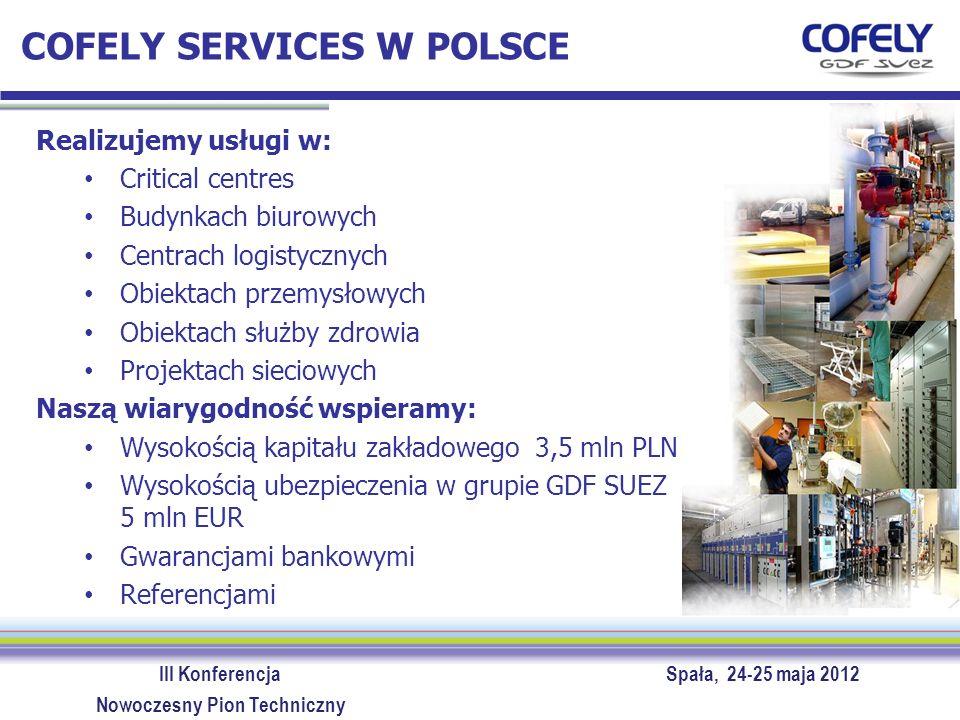 III Konferencja Spała, 24-25 maja 2012 Nowoczesny Pion Techniczny COFELY SERVICES W POLSCE Cofely Services Sp.