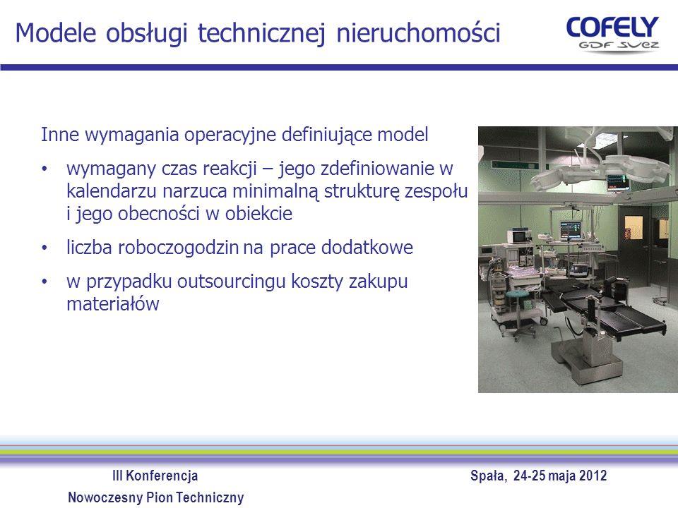 III Konferencja Spała, 24-25 maja 2012 Nowoczesny Pion Techniczny Modele obsługi technicznej nieruchomości W każdym przypadku dokładne zdefiniowanie zadań, także poprzez wskazanie celów do osiągnięcia, pozwala na optymalizację realizacji obsługi.