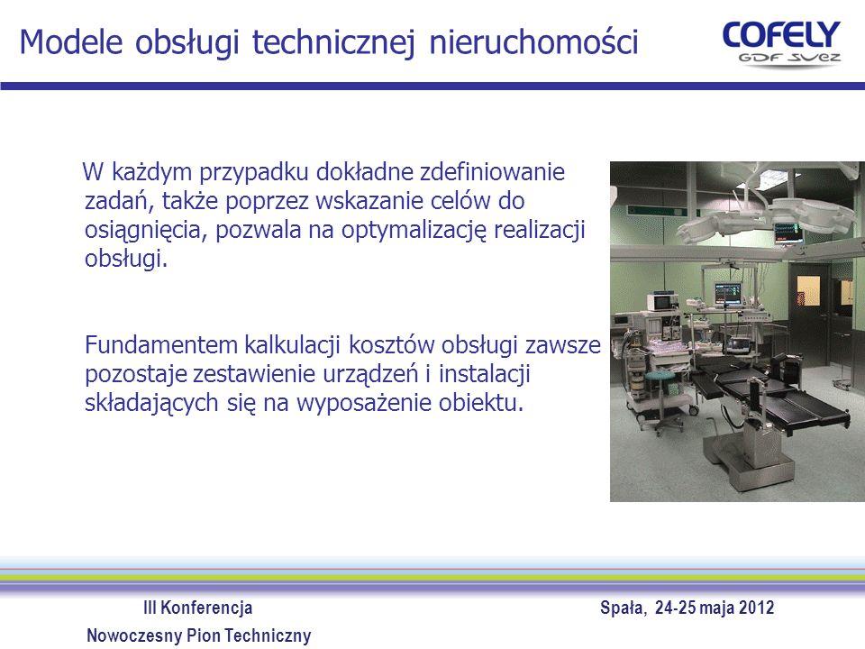 III Konferencja Spała, 24-25 maja 2012 Nowoczesny Pion Techniczny Zalety outsourcingu obsługi technicznej Efekty współpracy z profesjonalnym partnerem Redukcja kosztów obsługa techniczna – optymalna efektywność materiały – efekt skali energia (redukcja zużycia, redukcja ceny) Przekazanie odpowiedzialności prawnej ponoszenie konsekwencji finansowych i prawnych za niesprawność instalacji Minimalizacja ryzyka utraty kontroli odpowiednie zapisy umowne czytelne raportowanie realizowanych usług