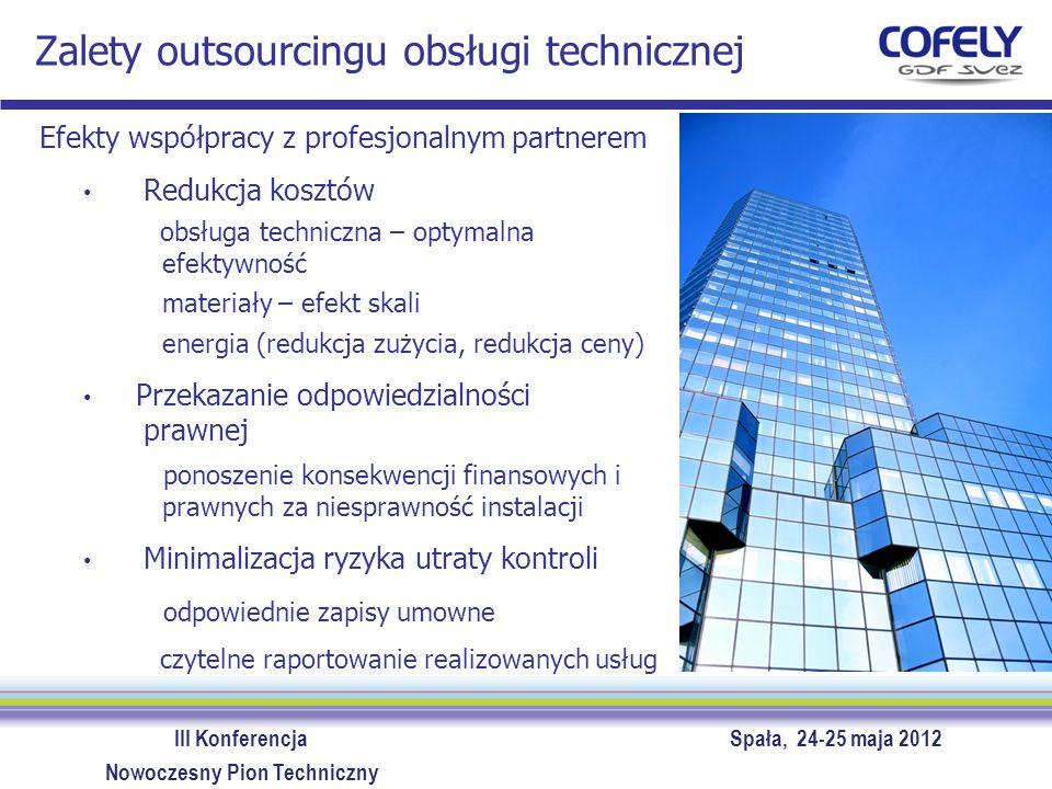 III Konferencja Spała, 24-25 maja 2012 Nowoczesny Pion Techniczny Zalety outsourcingu obsługi technicznej Partner jako konsultant więcej dostarcza niż formalnie zapisano konsultacje przy inwestycjach wykorzystanie potencjału i know-how partnera Wykorzystanie narzędzi stosowanych przez partnera software do zrządzania zespołem: rejestracja kosztów obsługi, materiałów indywidualnie dla urządzeń oraz kontrola realizacji przeglądów software do zgłaszania usterek: wygodna obustronna komunikacja on-line, rejestracja usterek, możliwość analizy efektywności, elastyczne raporty