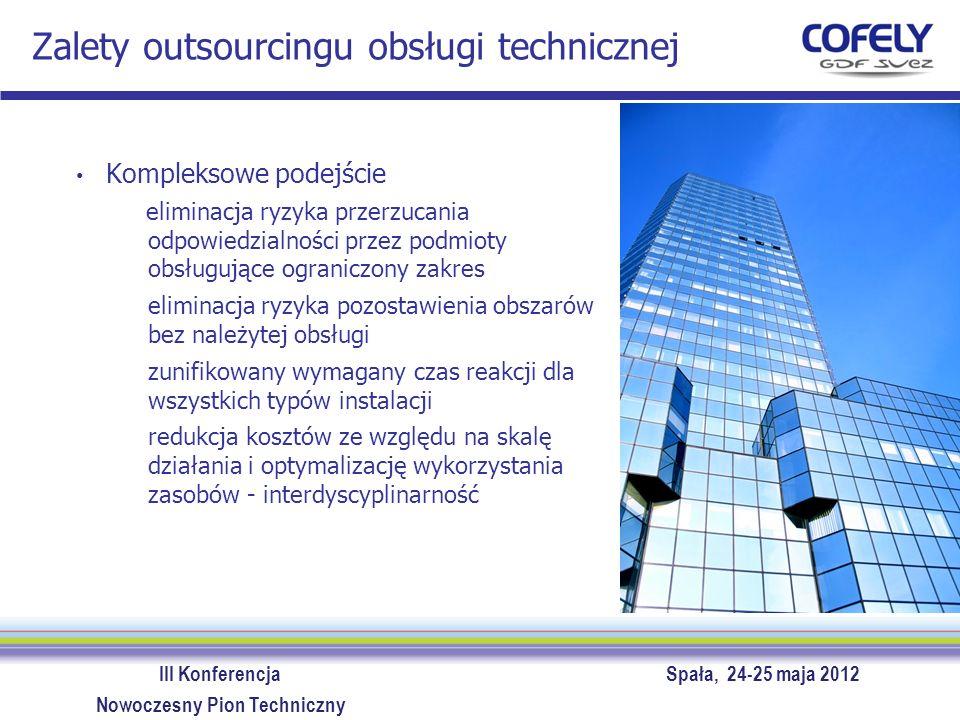 III Konferencja Spała, 24-25 maja 2012 Nowoczesny Pion Techniczny Zalety outsourcingu obsługi technicznej Zdolność partnera do osiągnięcia optymalnej równowagi pomiędzy obsługą prewencyjną i reakcyjną minimalizacja zdarzeń awaryjnych i ich konsekwencji optymalizacja kosztów obsługi redukcja kosztów energii