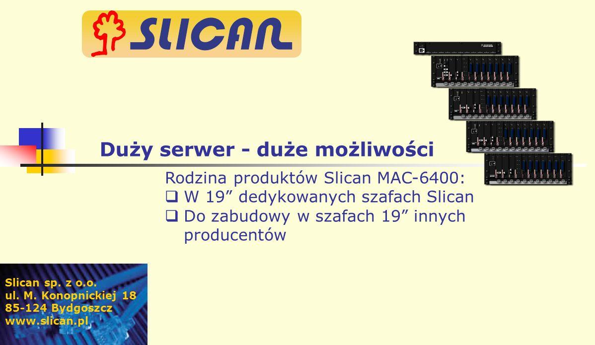 Rodzina produktów Slican MAC-6400: W 19 dedykowanych szafach Slican Do zabudowy w szafach 19 innych producentów Slican sp.