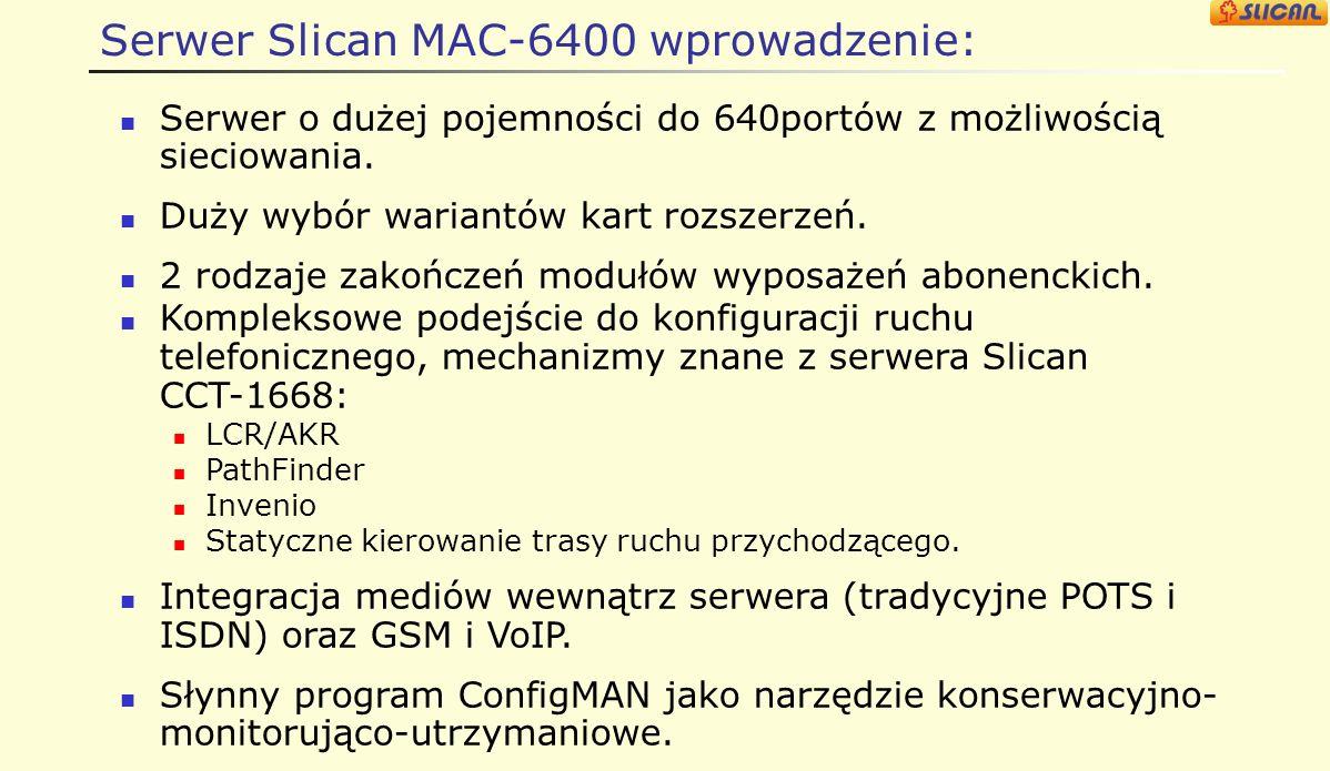 Serwer Slican MAC-6400 wprowadzenie: Serwer o dużej pojemności do 640portów z możliwością sieciowania.