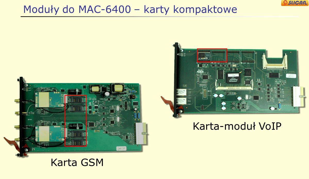 Moduły do MAC-6400 – karty kompaktowe Karta-moduł VoIP Karta GSM