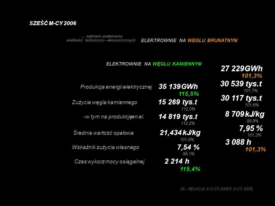 - zużyto węgla kamiennego 22,9 mln ton (107,5%) - zużyto węgla brunatnego 30,6 mln ton (101,7%) - zużyto gazu ziemnego 20 034 724 GJ (97,00%) - zużyto biomasy - biogazu 4 882 125 GJ BRAK DANYCH DO PORÓWNAN ZA 2005 ROK (% - RELACJA 6 M-CY 2006/6 M-CY 2005) ELEKTROENERGETYKA ZAWODOWA ELEKTROWNIE I ELEKTROCIEPŁOWNIE ZUŻYCIE ŁĄCZNIE SZEŚĆ M-CY 2006
