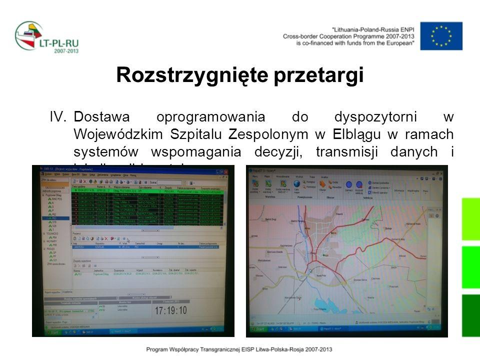 Rozstrzygnięte przetargi V.Dostawa i montaż w ambulansach Wojewódzkiego Szpitala Zespolonego w Elblągu defibrylatorów do transmisji EKG oraz systemu do odbioru transmisji EKG w Wojewódzkim Szpitalu Zespolonym w Elblągu;