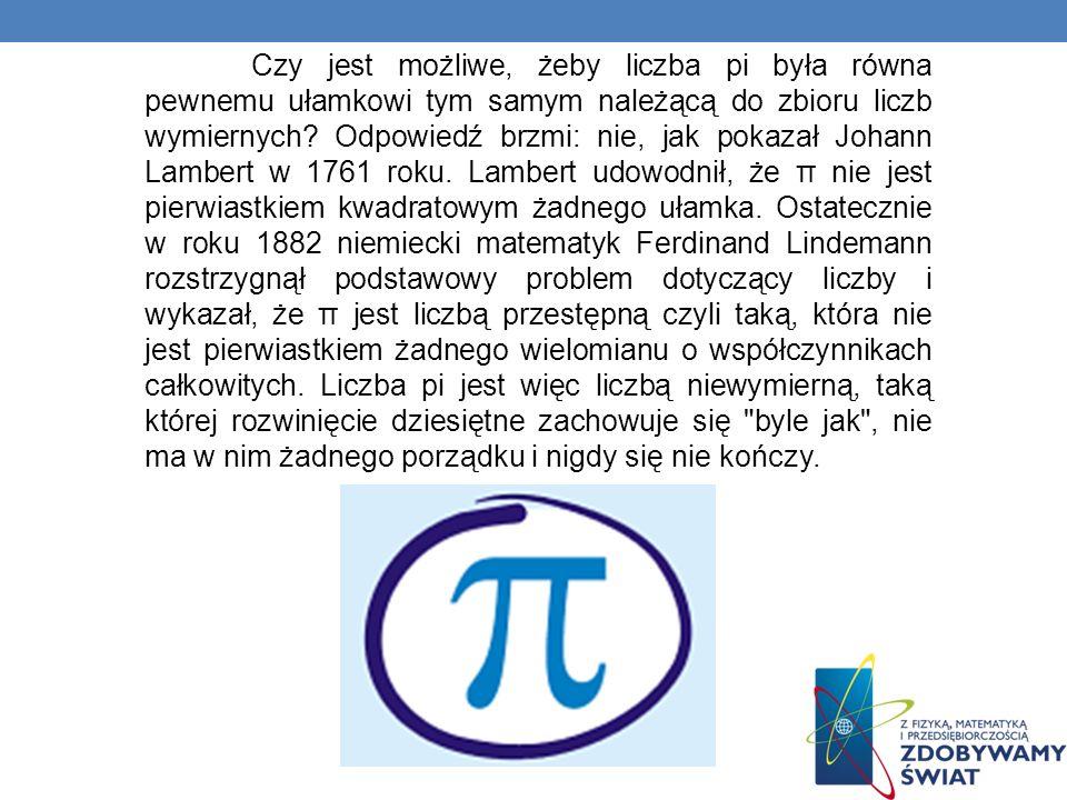 Nazwa liczby Używany dzisiaj symbol π wprowadzony został dopiero w 1706 roku przez Wiliama Jonesa, a spopularyzował go Leonhard Euler używając tego zapisu w dziele Analiza.
