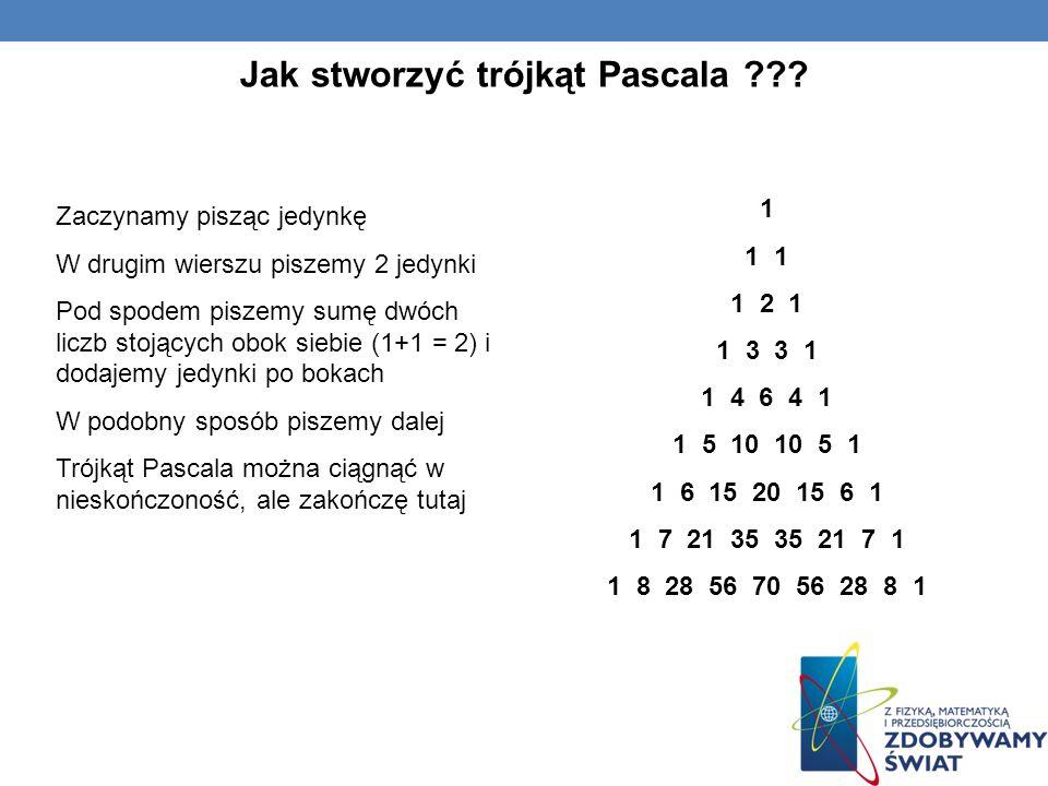 Zastosowanie Trójkąta Pascala 1 1 2 1 1 3 3 1 1 4 6 4 1 1 5 10 10 5 1 1 6 15 20 15 6 1 1 7 21 35 35 21 7 1 1 8 28 56 70 56 28 8 1 012345678012345678 Trójkąt Pascala ma zastosowanie we wzorach skróconego mnożenia.