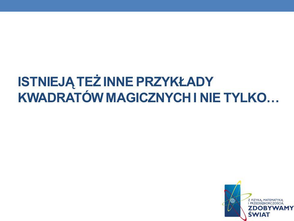 KWADRATY MAGICZNE Z RAMKĄ 92526231810 1613534421 2032672917 2483031513 1533323622 271211141928 Bardziej zaawansowaną formą kwadratu magicznego jest kwadrat magiczny z ramką.