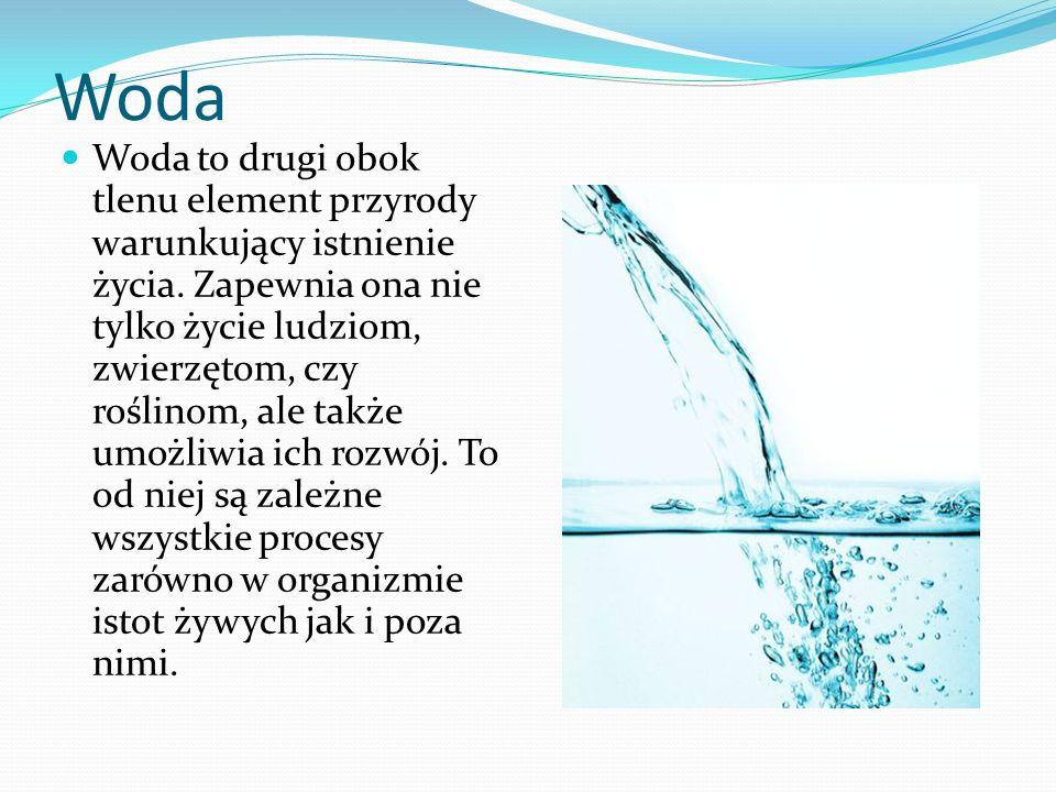 Waga wody u człowieka O wadze wody dla życia człowieka przesądza chociażby fakt, że organizm człowieka zawiera jej około 65 %.