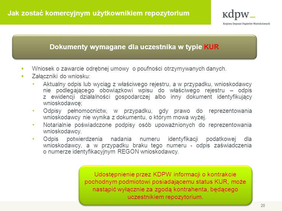 Udostępnianie informacji uczestnikowi w typie KUR Uczestnik repozytorium dostarcza do KDPW oświadczenia, zgodnie z którym zapewnia, że udzielił wskazanemu podmiotowi upoważnienia do dostępu do informacji o kontraktach pochodnych, których jest stroną.