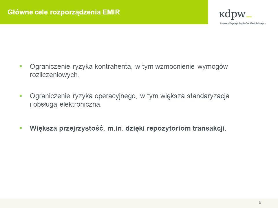 6 EMIR: obowiązek raportowania Obowiązek zgłaszania transakcji (Art.