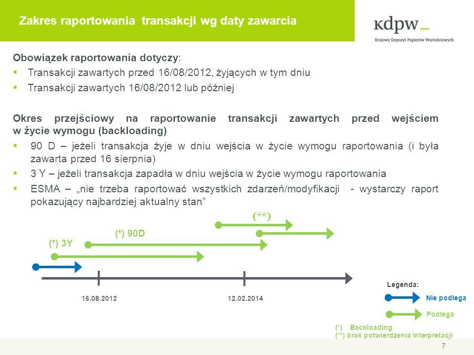 Delegowanie raportowania Możliwość delegowania raportowania do innego podmiotu: drugiej strony transakcji podmiotu trzeciego Brak ograniczeń dotyczących statusu/miejsca ustanowienia podmiotu raportującego Pomimo delegowania odpowiedzialność za raportowanie ciągle spoczywa na stronie transakcji odpowiedzialność za poprawne i terminowe przekazanie raportu odpowiedzialność za merytoryczną poprawność danych 8