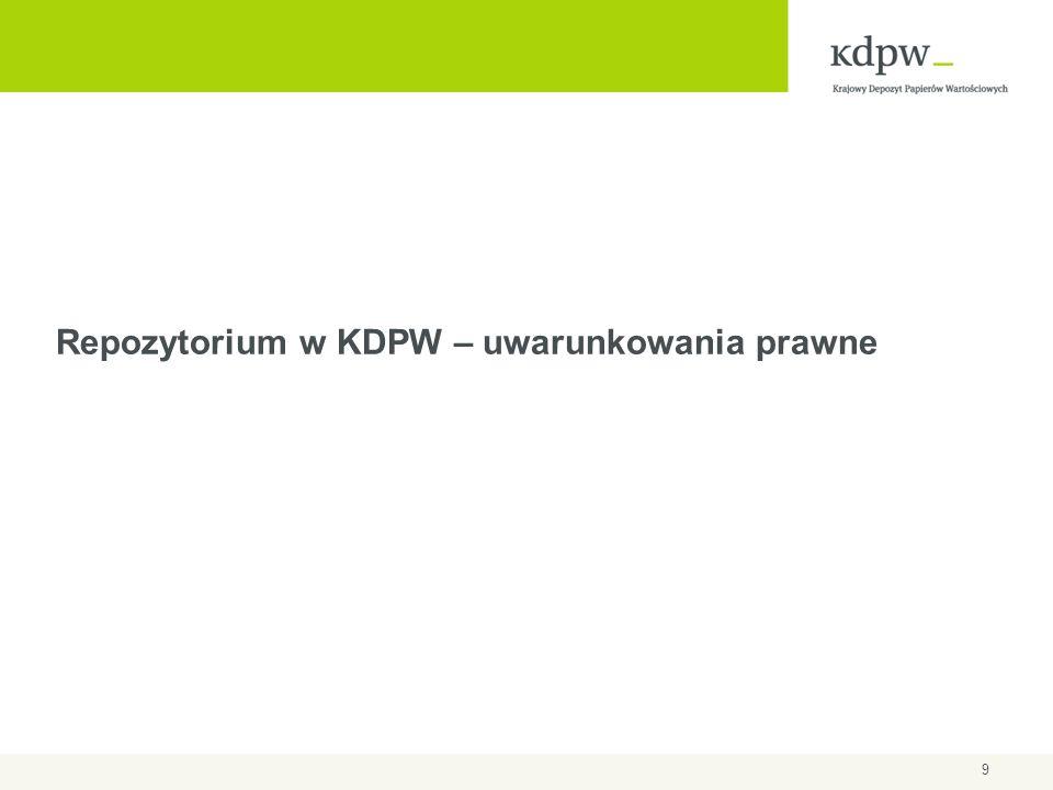 10 Repozytorium w polskim prawodawstwie Nowelizacja ustawy o obrocie instrumentami finansowymi, która weszła w życie 4 sierpnia 2012 r.