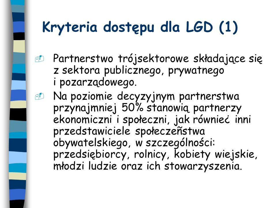 Kryteria dostępu dla LGD (2) 3.LGD przygotowuje Lokalną Strategię Rozwoju.