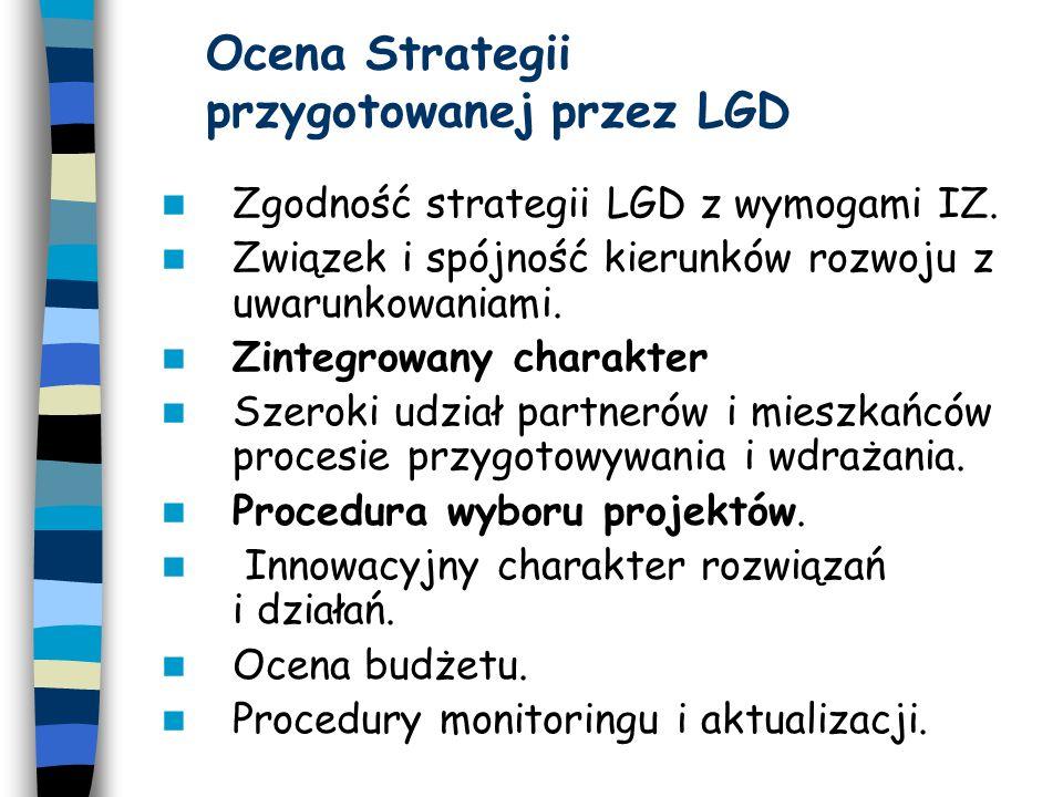 W ybór projektów przez LGD LGD na podstawie umowy na realizację lokalnej strategii: rozpowszechnia założenia zatwierdzonej LSR; upowszechnia informacje o warunkach i zasadach udzielania pomocy na realizację projektów przedkładanych przez wnioskodawców, kryteriach wyboru projektów oraz sposobie naboru wniosków o pomoc; ogłasza i prowadzi nabór wniosków o pomoc z obszaru działania LGD.