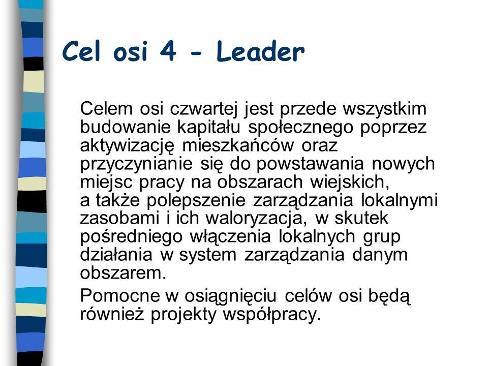Oś Leader, a pozostałe osie Pierwsze trzy osie obejmują wertykaln i e działania Leader - jest osią horyzontalną - można przez nią realizować także działania z co najmniej jednej z pozostałych trzech osi W Polsce podobnie, jak w wielu innych krajach, poprzez podejście Leader będzie się realizować wybrane działania osi 3