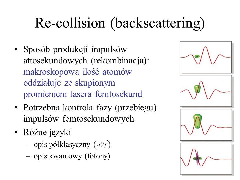 Moc lasera attosekundowego Problem rozmiaru próbki (makroskopowa) Phase matching: prędkość fazowa impulsów femto- i attosekundowego są takie same.