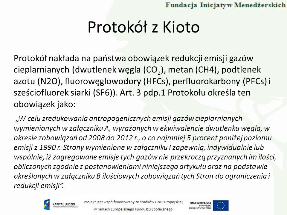 Protokół z Kioto Wysokość zobowiązań redukcyjnych dla poszczególnych stron zawartych w załączniku B do Protokołu: -Unia Europejska (tzw.