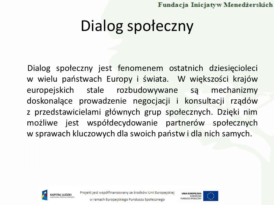 Dialog społeczny Mechanizmy dialogu umożliwiają budowanie szerokiego konsensusu społecznego wokół wartości i kwestii fundamentalnych dla państw i obywateli.