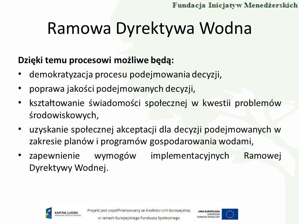 Ramowa Dyrektywa Wodna nadanie bardziej przejrzystego i twórczego charakteru procesowi podejmowania decyzji, dostęp do informacji: o problemach, potrzebach, celach, możliwych sposobach i metodach wdrożenia, wzrost zrozumienia przez użytkowników wody problemów, zróżnicowanych potrzeb oraz kosztów ich zaspokojenia, osiągnięcie kompromisów poprzez ograniczenie konfliktów, nieporozumień w odniesieniu do zagadnień związanych z gospodarowaniem wodami, zmniejszenie opóźnień oraz bardziej skuteczne przeprowadzenie procesu wprowadzania w życie RDW.