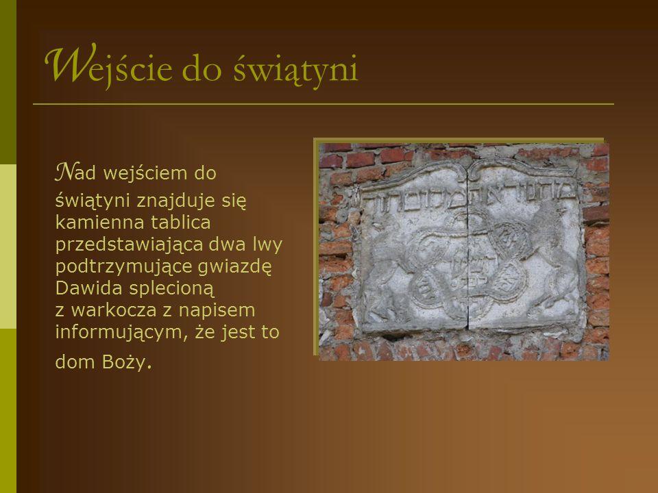 W nętrze świątyni G łówna sala świątyni służyła modlitwie, na którą zbierali się mężczyźni.