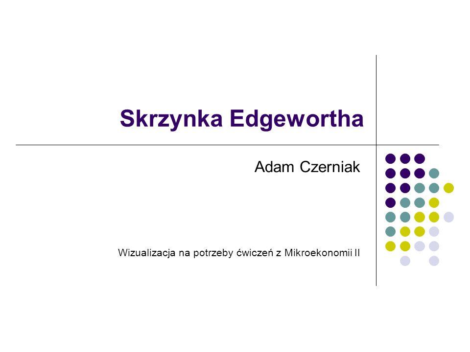 26.03.2012Adam Czerniak SGH adam.czerniak@gmail.com2 Założenia Dwaj konsumenci (W i E) Dwa dobra (X i Y) Dwie funkcje użyteczności Jedna skrzynka: Edgewortha