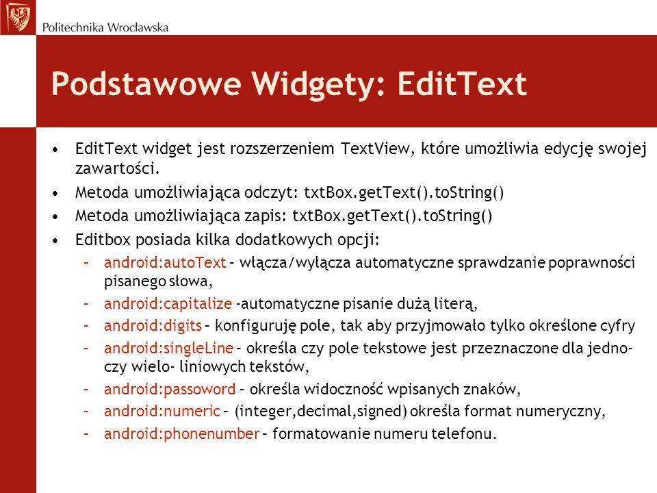 Implementacja widgetu w programie.