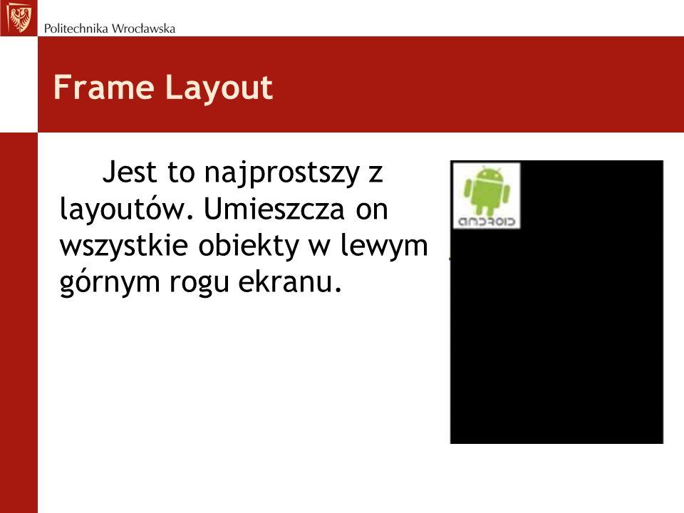 Absolute Layout Określa on położenie każdego obiektu współrzędnymi x i y.