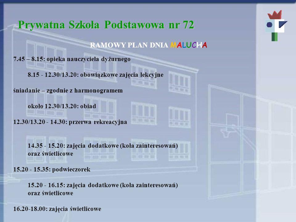 Prywatna Szkoła Podstawowa nr 72 PLAN TYGODNIOWY RODZAJ ZAJĘĆKLASA 01-3 Edukacja wczesnoszkolna/edukacja przedszkolna 16 wf23 muzyka-1 Plastyka11 informatyka-1 rytmika1- j.