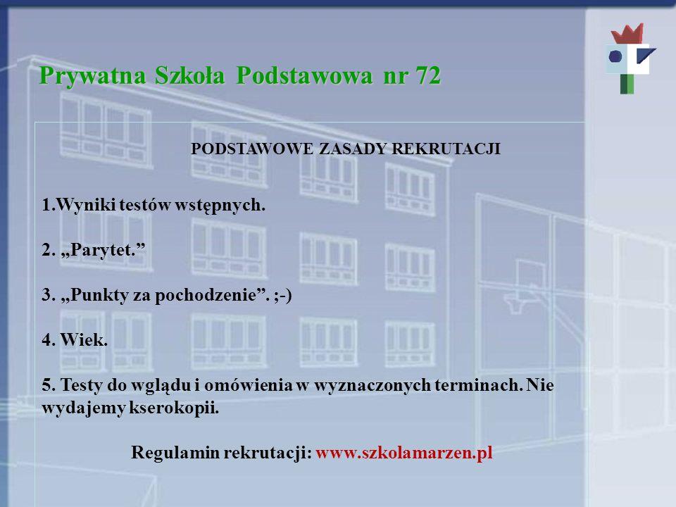Prywatna Szkoła Podstawowa nr 72 WAŻNE TERMINY Testy wstępne: 2 kwietnia, godz.