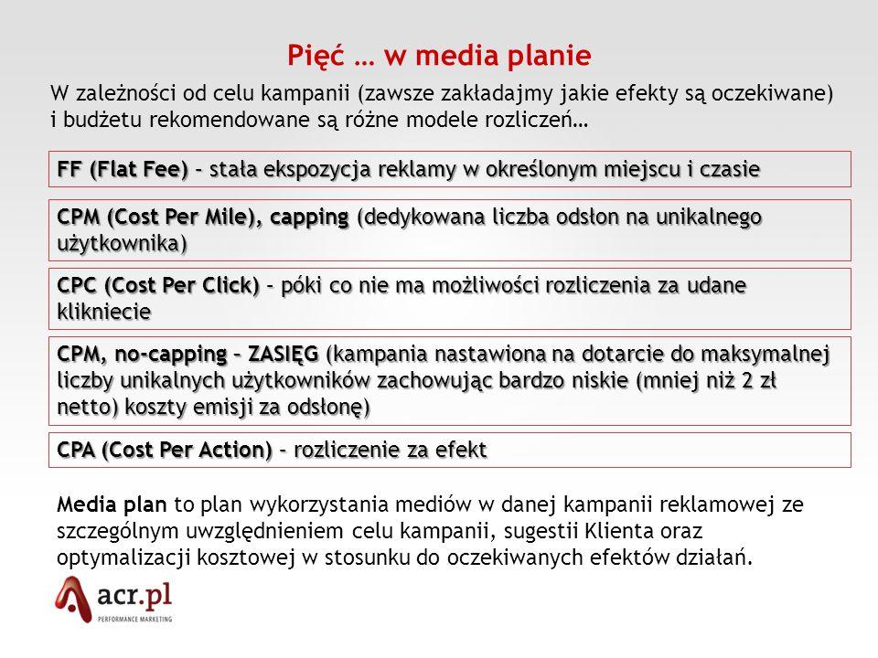 Pięć … media plan Miejsca emisji reklamy (kupowanych odsłon, kliknięć innych) i ich charakter (specyficzne opisy) Timing kampanii i zaznaczenie poszczególnych emisji Koszty kampanii – ceny CMP, CPC, CPA RC (rate card), net net i rabaty Wykorzystane formaty ze wstępną specyfikacją Podsumowanie kosztów: koszty mediowe, badań trakujących, agencyjne