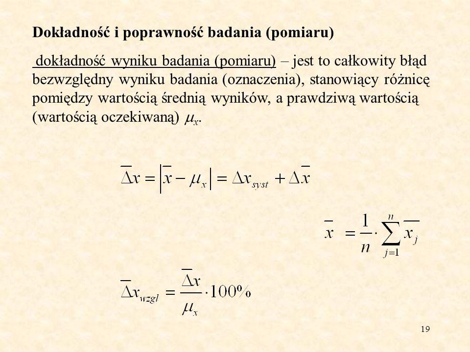20 Dokładność i poprawność badania (pomiaru) dokładność metody badawczej (analitycznej) – definiowana jest jako różnica x met pomiędzy wartością oczekiwaną E(X) zbioru wyników uzyskanych daną metoda badawczą (pomiarową), a prawdziwą wartością x.