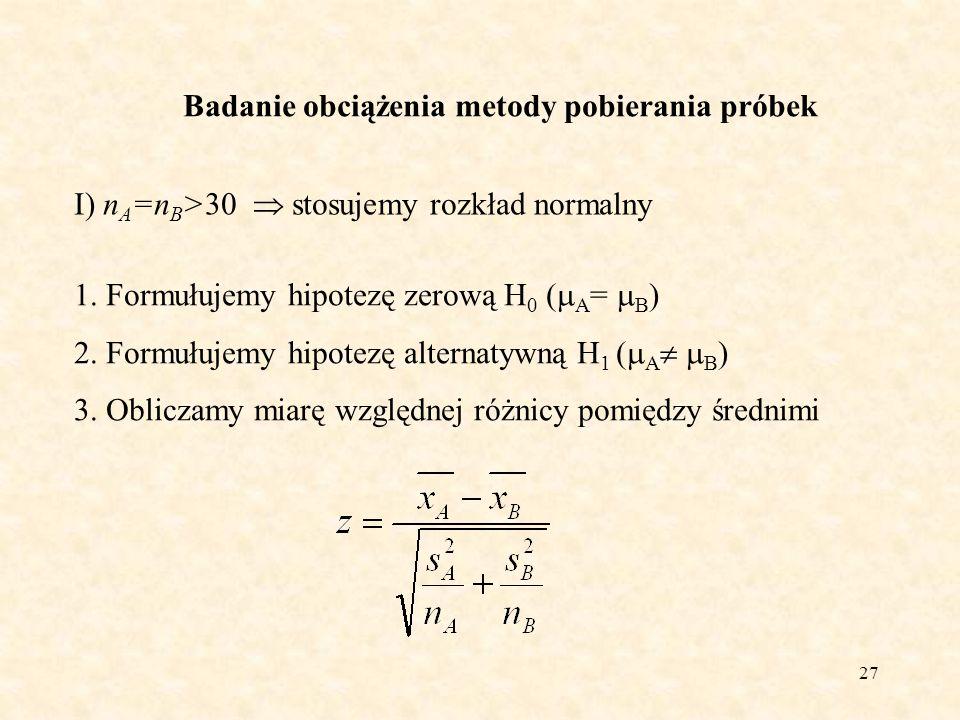 28 Badanie obciążenia metody pobierania próbek I) n A =n B >30 stosujemy rozkład normalny 4.