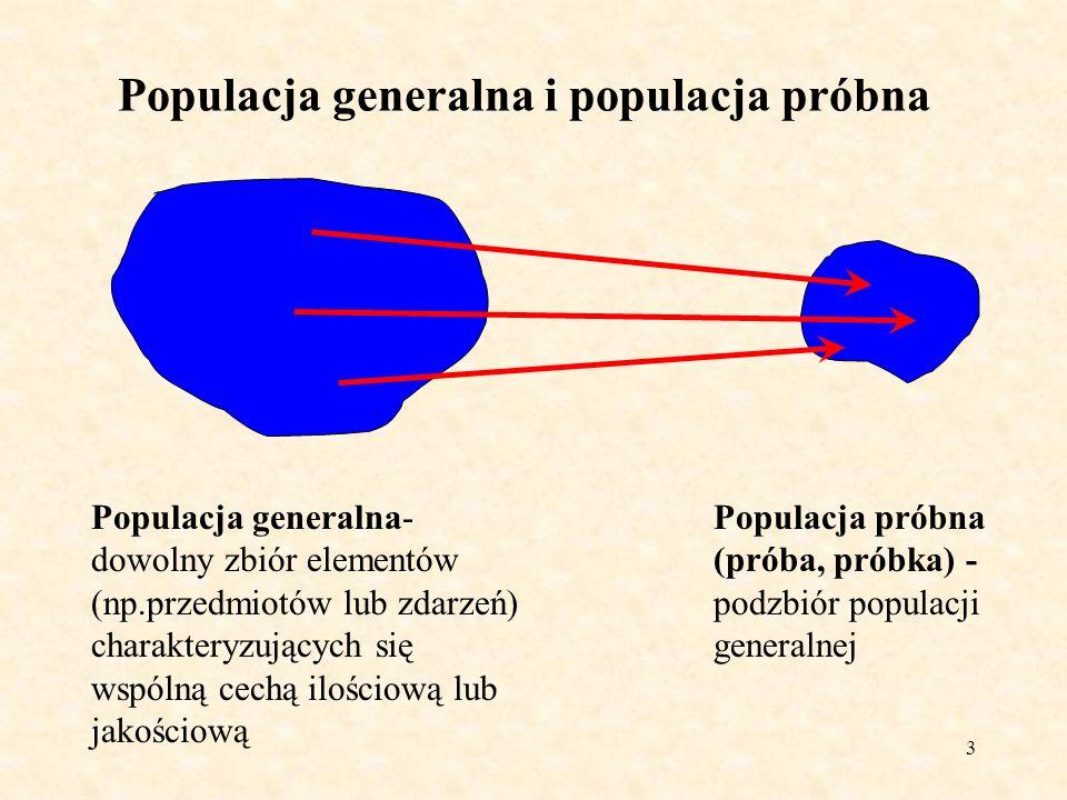 4 Rodzaje pomiarów Pomiary wyczerpujące- pomiary na wszystkich elementach populacji generalnej (na całej populacji generalnej) Pomiary (badania) populacji próbnej (próbki) Badanie określonej cechy w próbce wykonuje się, aby wyciągnąć wnioski odnośnie tej cechy w populacji generalnej