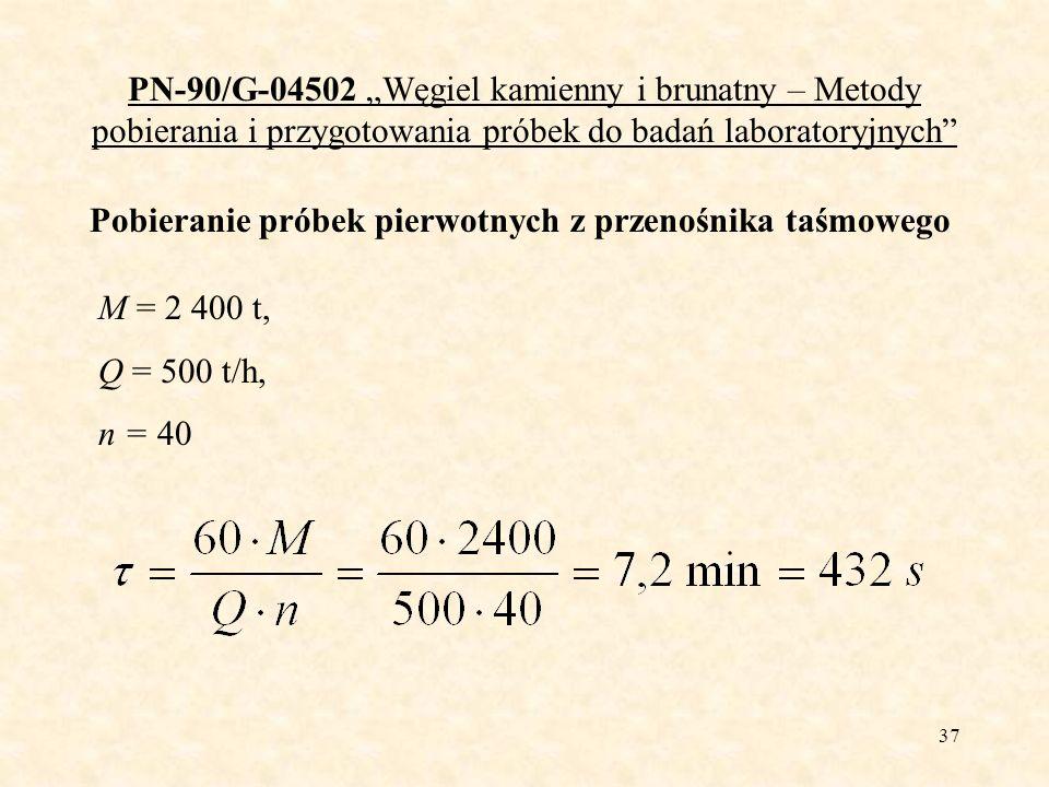 38 PN-90/G-04502 Węgiel kamienny i brunatny – Metody pobierania i przygotowania próbek do badań laboratoryjnych D = 50 mm Węgiel kamienny, niewzbogacony