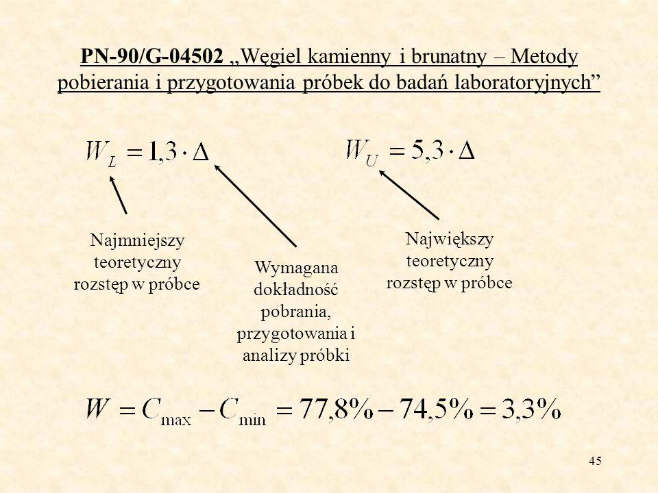 46 PN-90/G-04502 Węgiel kamienny i brunatny – Metody pobierania i przygotowania próbek do badań laboratoryjnych Rozstęp z badania poboru próbki Jeżeli W L <W<W U próbka była pobrana z wymaganą (założoną) dokładnością Jeżeli W<W L próbka była pobrana z większą niż wymagana (założona) dokładność można zmniejszyć liczbę próbek pierwotnych Jeżeli W>W U próbka była pobrana z mniejszą niż wymagana (założona) dokładność należy zwiększyć liczbę próbek pierwotnych