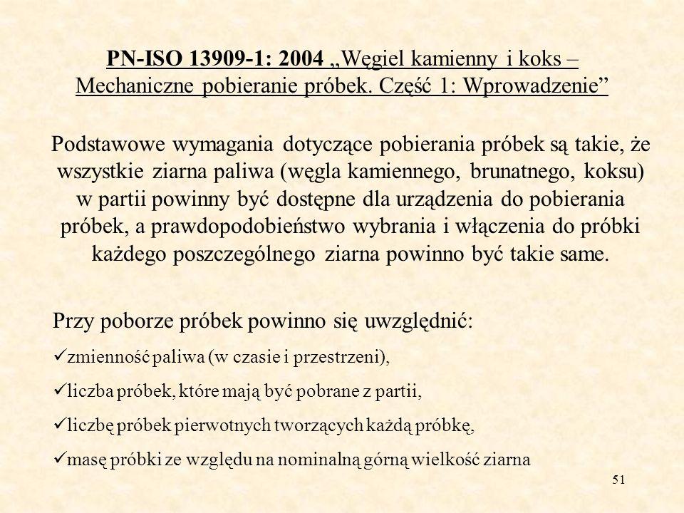 52 PN-ISO 13909-1: 2004 Węgiel kamienny i koks – Mechaniczne pobieranie próbek.